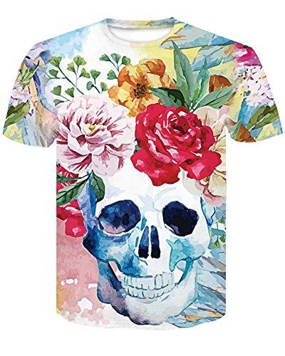 Manica To Unisex Sport Graphic Uomo 3d Tees Style Select shirt Estate Stampa Stampato Corta Cick Cranio 1 T Traspirante Teschio Casuale donna Top Daihan RwdqYCR