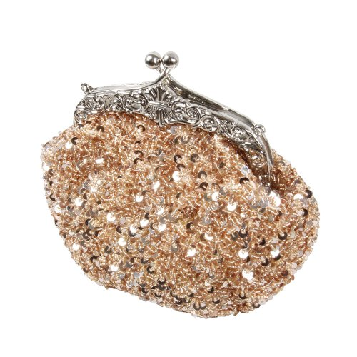 BMC Glamour Elegant Satin Beaded Bridal Sequin Vintage Cocktail Party Handbag-PALE PEACH (Beaded Glamour Clutch)