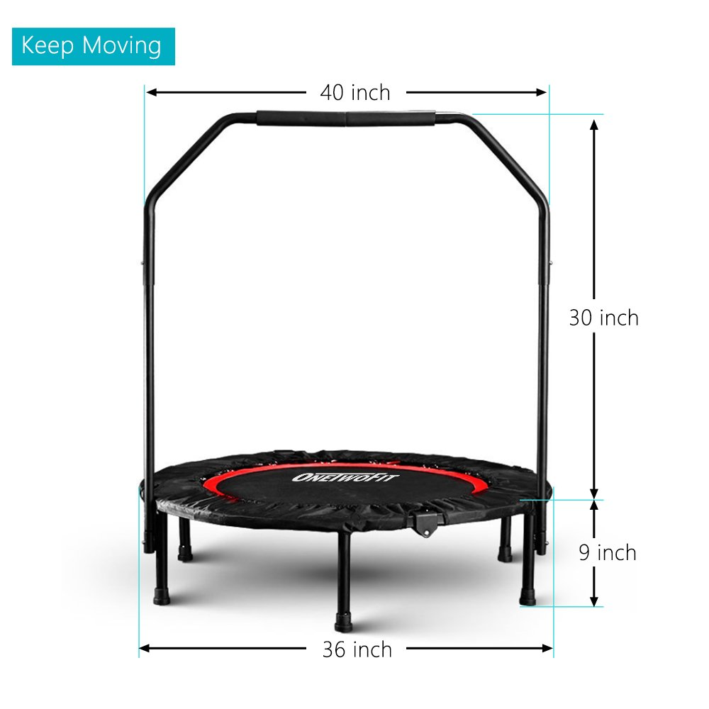 OneTwoFit 40'' Indoor Trampoline with Handrail,Foldable Fitness Trampoline for Adults,Rebounder Trampoline Exercise Trampoline for Indoor/Garden/Workout Cardio OT017 by ONETWOFIT (Image #4)