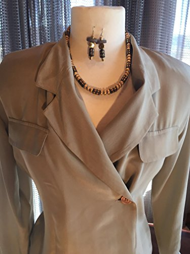 Custom Couture S Taupe silk wrap blouse with custom grey and gold necklace and earrings (Couture Couture Silk Blouse)