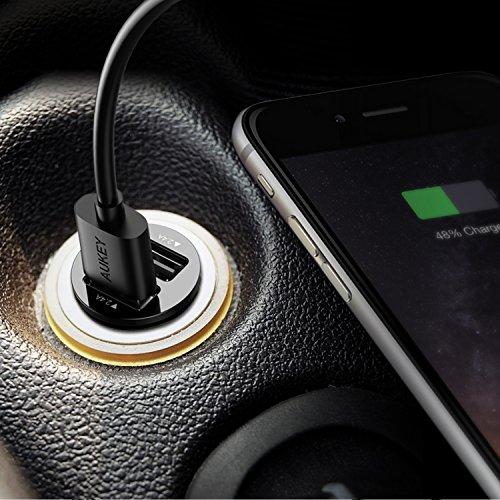 AUKEY シガーソケットチャージャー ブラック USBカーチャージャー スマホ充電器 超小型 急速 USB2ポート 4.8A/24W iPhone7 iPhone7Plus iPhone6s/6sPlus/6/6Plus/iPad/iPod/Android/Galaxy S6/S6 Edgeなど対応 CC-S1
