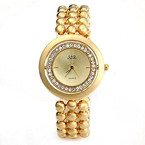 Eleoption lujo Casual G & D las mujeres muñeca del cuarzo relojes oro cadena de plata