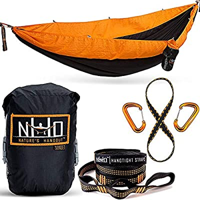 The HangEasy Portable Camping Hammock - Free Premium Adjustable Hanging Straps & Ultralight Carabiners. Tear Resistant Parachute Nylon. Large Double Size, Lightweight & Easy To Fit In Your Backpack