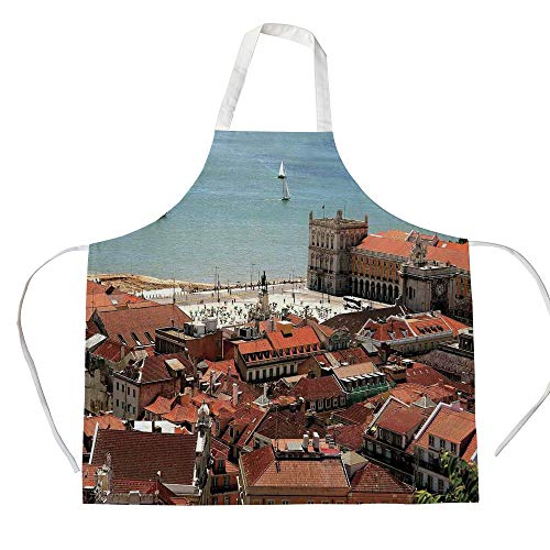 iPrint Cotton Linen Apron,Two Side Pocket,Cityscape,View of Central Lisbon Portugal with Rooftops and Sea Old Town Nostalgic City Deco,Multi,for Cooking Baking Gardening ()