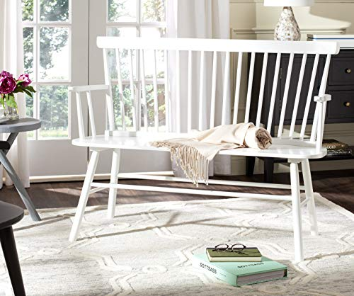 Safavieh American Homes Collection Addison Spindle Back White Bench