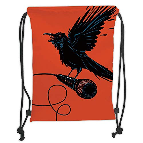 New Fashion Gym Drawstring Backpacks Bags,Indie,Raven is Holding a Microphone Rock Music Theme Festival Party Gothic Singer,Orange Black Blue Soft Satin,Adjustable String Closure,]()