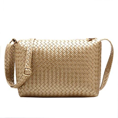 Yuanhong Women's Weaving Grain Shoulder Bag (Gold)