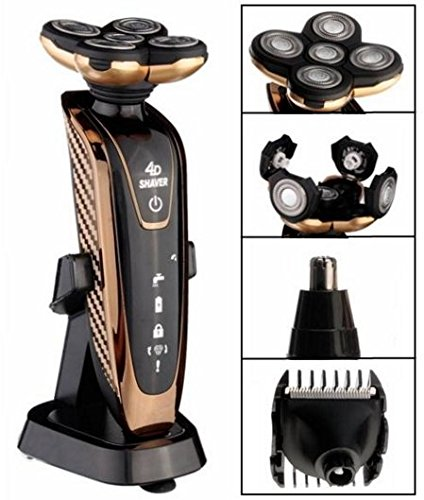KM-5886 4D 3 In 1 Rechargeable Shaver Washable Five Head IPX7 Rotary Razor Nose Hair Trimmer Clipper by Abcstore99