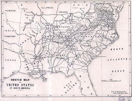 Amazon.com: Civil War Map Reprint: Sketch map of United ... on map of ocean sketch, map of hawaii sketch, map of kentucky sketch, map of bahrain sketch, map of new france sketch, africa map sketch, map of caribbean sketch, map of hong kong sketch, map of zambia sketch, map of world sketch, map of new jersey sketch, usa map sketch, map of mauritius sketch,