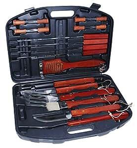 18-Maletín con accesorios para barbacoa acero inoxidable y madera