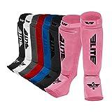 Elite Sports Protective Kickboxing, MMA, Muay Thai Shin & Instep Guards Leg Pad Training Protective Gear Washable (XS, Pink)