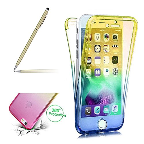 Fullscreen Box (Clear Case For Iphone 7, Girlyard Front and Back Complete TPU Silicone Gel Case Cover For Iphone 7, Full Screen Coverage Protector Case Cover For Iphone 7 -- Gradient Yellow / Blue)