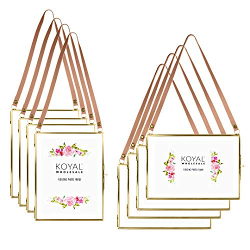 Koyal Wholesale Gallery Wall Frames, Leather Strap Gold Metal Pressed Glass Floating Hanging Photo Frames, 8 Pack, 4 Vertical 4 Horizontal 5 x 7 Picture Frames for Wall Collage, Decorative Wall (Wholesale Picture Frames)