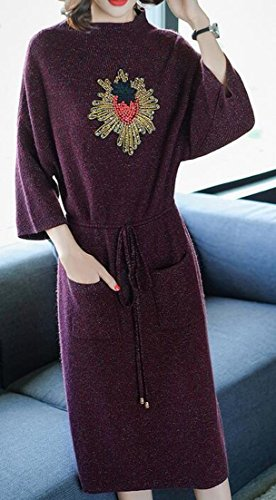 Loose Mock Mid Length Jaycargogo Neck Wine Knit Fit 3 Womens Red Sleeve 4 Elegant Dress qqzr0vxE