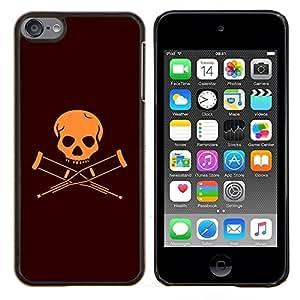 EJOOY---Cubierta de la caja de protección para la piel dura ** Apple iPod Touch 6 6th Touch6 ** --Discapacitados Bandera cráneo