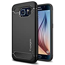 Spigen Rugged Armor Galaxy S6 Case with Resilient Shock Absorption and Carbon Fiber Design for Galaxy S6 2015 - Black