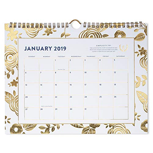 Emily Ley 2019 Monthly Wall Calendar, 11 x 8-1/2, Small, Wirebound, Gold Floral (EL100-709)