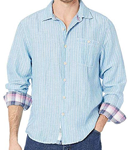 Tommy Bahama Long Sleeve Sand Linen Stripe Shirt (Color: Cobalt Sea, Size 3XL) (Tommy Bahama Lyocell Shirts)