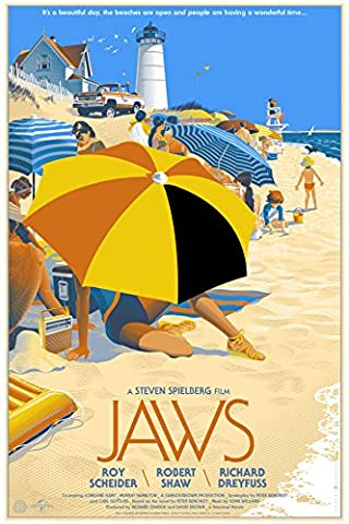 Old Tin Sign Jaws s Classic Vintage Movie Poster MADE IN THE USA (Classic Scary Movie Posters)