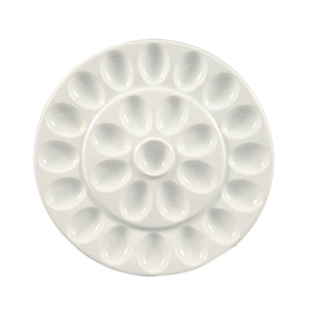 CAC China PEG-R21 Porcelain Egg Holder Plate with 24-Compartment, 13-Inch, Super White, Box of 12