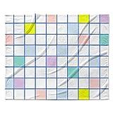 KESS InHouse Vasare Nar Pastel Windowpane Grid Multicolor White Fleece Throw Blanket, 80'' x 60''