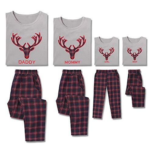 PatPat Family Matching Pajamas Sets Deer Printed Long Sleeve Top Plaid Pants Sleepwear Adult Kids Boy: 5-6 Years