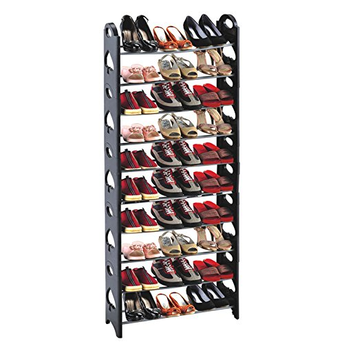 10 Tiers Shoe Rack Easy Assembled Shoe Tower Stand Sturdy Sh