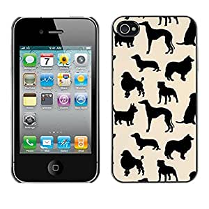 Plastic Shell Protective Case Cover || Apple iPhone 4 / 4S || Pattern Black Beige @XPTECH