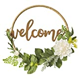 Ling's moment Floral Hoop Wreath, DIY Paper Flower Wreath w Wood Welcome Sign, Handmade 16 inch Dahlia & Vine Wedding Wreath, Fall Decor Wreath for Christmas Wall Door Wedding Ceremony Backdrop