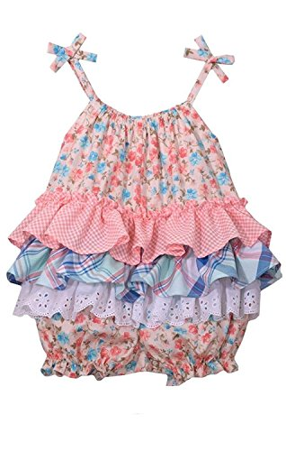 Bonnie Jean Baby Girls Peach Floral Bubble Romper (0m-24m) (24 - Jeans Bonnie Jean Gingham