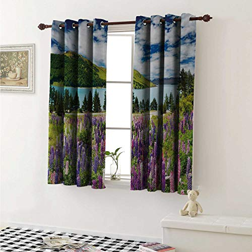 (shenglv Nature Blackout Draperies for Bedroom Floral Mountain Meadow Valley by Lake with Blossom Petals Inspiration Picture Curtains Kitchen Valance W72 x L63 Inch Purple Fern Green)