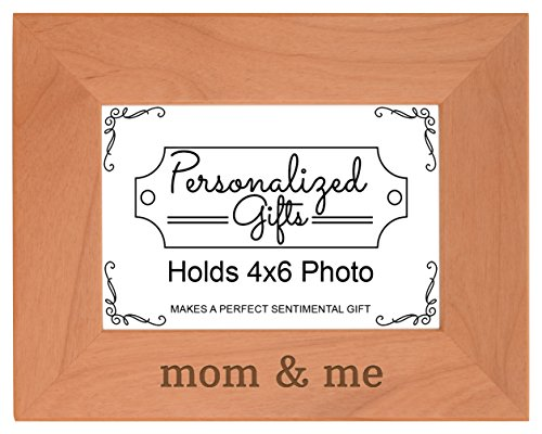 New Mom Gifts for Mom and Me Natural Wood Engraved 4x6 Landscape Picture Frame Wood (6 Wreath Frame)