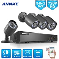 ANNKE Security Camera System Smart HD 1080P Lite 4+1 Channels DVR Recorder and (4) 720P HD Outdoor Bullet Camera, All-weather Adaptation, Email Alert with Images, Mobile App: ANNKE View, NO HDD