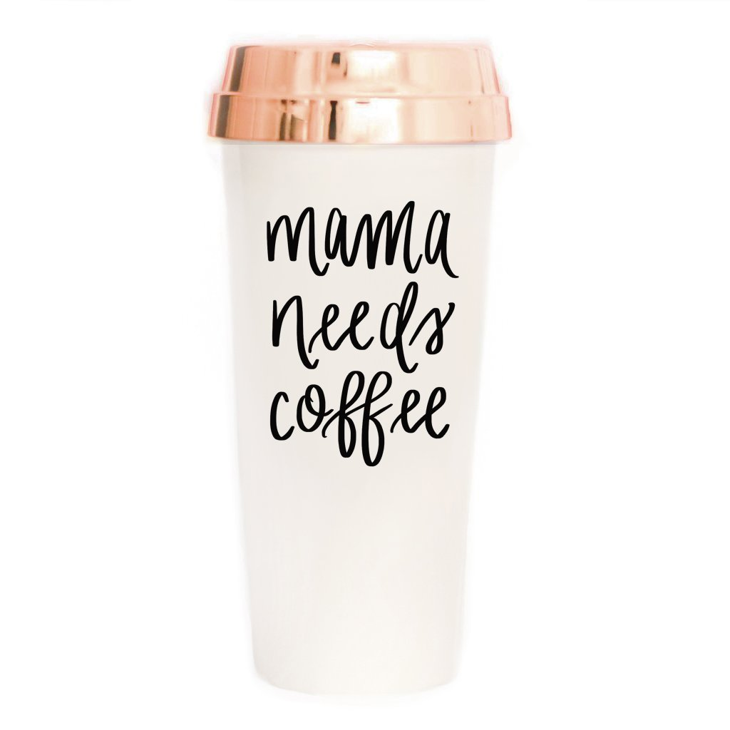 Sweet Water Decor Mama Needs Coffee Travel Mug | Rose Gold Lover Mom Gift Cute Accessories for Women Commuter Plastic Tumbler Cup with Lid 16 Ounces Hand Lettered