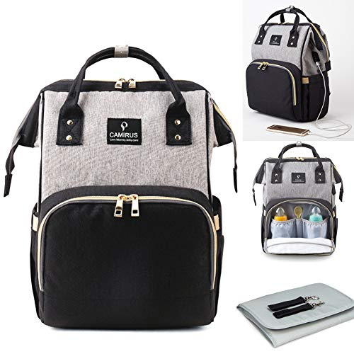 Baby Diaper Bag Backpack, Large Capacity Multi-Function Waterproof Baby Maternity Nappy Bags with Stroller Straps, USB Charging Port and Changing Pad
