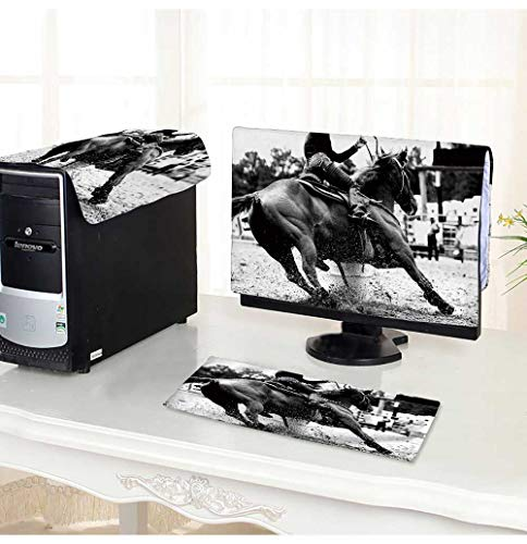 PRUNUS Computer Three-Piece dust Cover High Contrast,Black and White Closeup of a Rodeo Barrel Racer Making a Turn Protect Your Computer (Pro Barrel Racer)