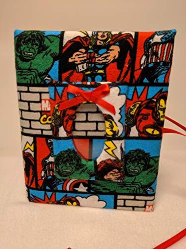 Marvel Super Heros Fabric Photo Album for Boy or Girl - Holds 100 4x6 Photos - HandmadePhotos - Handmade Fabric Photo Album