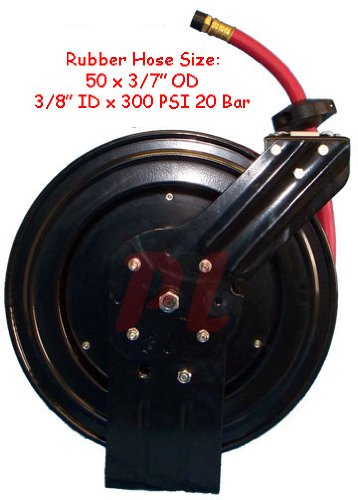3/8'' x 50' Retractable Air Hose Reel 300 PSI Truck Wall Ceiling Mount Mountable