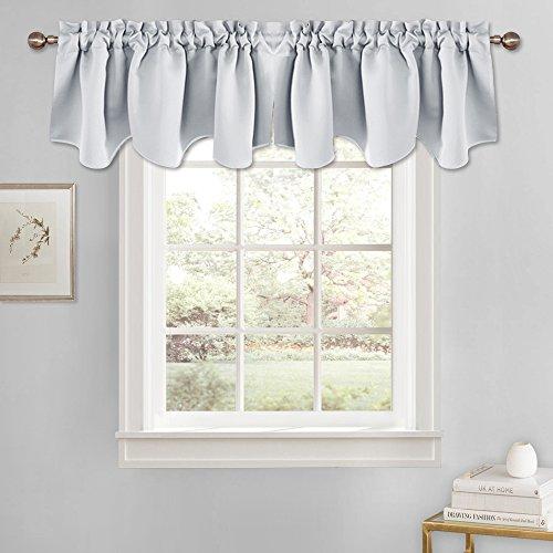 (PONY DANCE Window Scalloped Valances - White Curtains Blackout Rod Pocket Half Drapes Home Decor Curtain Valance Soft Fabric for Kitchen, 52