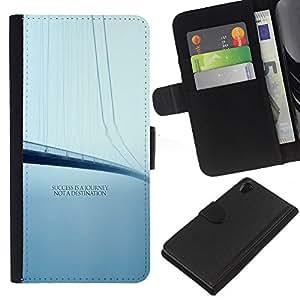 Sony Xperia Z2 D6502 D6503 D6543 L50t L50u , la tarjeta de Crédito Slots PU Funda de cuero Monedero caso cubierta de piel ( Success Journey Destination Quote Bridge)