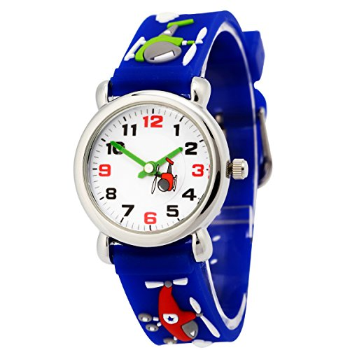 Happy Cherry Unisex Children Kids Rubber Band 3D Airplane Watches Blue