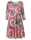 Luranee Casual Dress with Pockets for Women, 3/4 Sleeve Ladies Fall Dresses Scoop Neck Tea Length Trapeze Office Church Wear Versatile Floral Petite Outfits Pink-Grey Large
