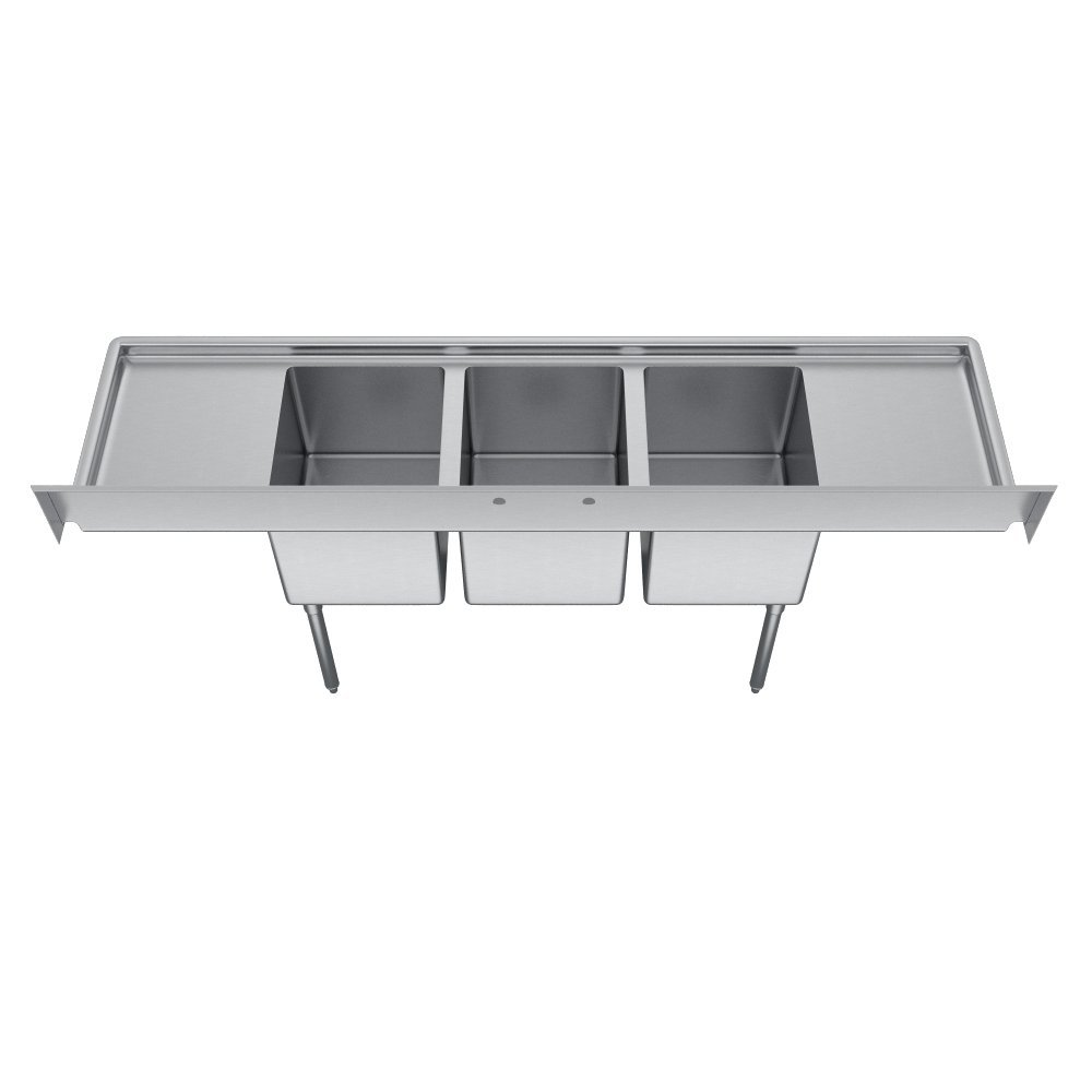 Elkay Foodservice 3 Compartment Sink, 66''X19.75'' OA, 36'' Working Height, 10X14 Bowl, 10 Deep, 10.75'' Backsplash, Left & Right 16 Drainboards, 8'' On Center Faucet Hole, Galvinized Legs, Adjustable Feet, 16 Gauge 300 Series Stainless Steel, NSF Certified by Elkay (Image #2)