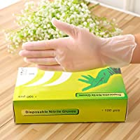Disposable Vinyl Gloves, Non-Sterile, Powder Free, Smooth Touch, Food Service Grade, Large Size [100 Pack]