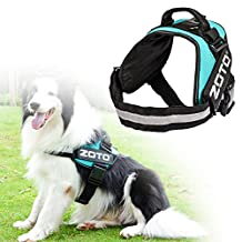 Service Dog Vest Harness, ZOTO Adjustable Dog Harness Vest with 4 Removable Velcro Patches(In Training+ZOTO Logo),Soft Padded Non Pull Dog Reflective Vest,Dog Vest Large Size for Walking/Training