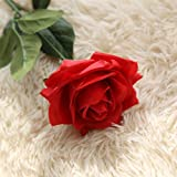 Makaor Artificial Fake Flowers Roses Floral Wedding Bouquet Party Home Decor Party Coffee House Office Multi Colors Available (Red)