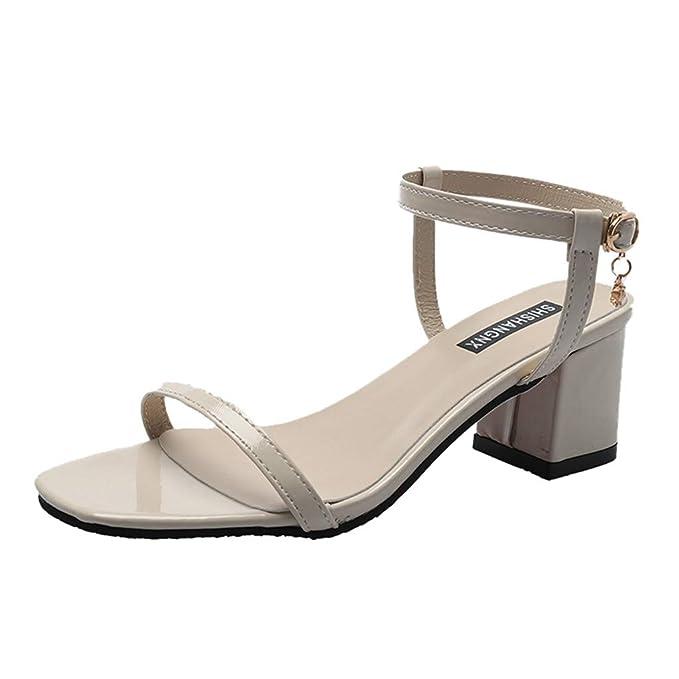 9ff037d265a JJLIKER Women Classic Open Toe High Heels Buckle Ankle Strap Chunky Heel  Sandals Summer Fashion Dress