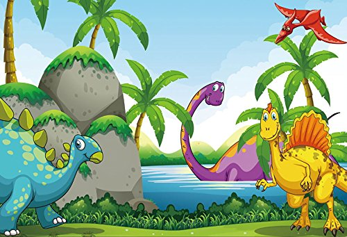 Baocicco Vinyl 5x3ft Cartoon Dinosaurs Backdrop Photography Background Prehistoric Jurassic Period Mountains Lake Water Cute Baby Kid Birthday Party Decoration Infant Children Photo Portraits Prop ()