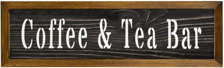 EricauBird Coffee Tea Bar Country Kitchen Wood Sign, Decorative Home Wall Art, Sign for Home Wedding Party Farmhouse, Personalized Housewarming Family Present, 6x20