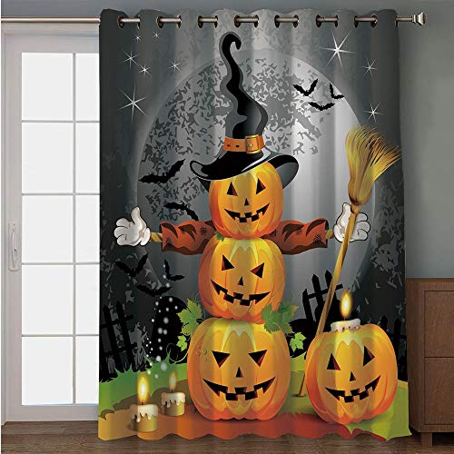 iPrint Blackout Patio Door Curtain,Halloween,Cute Pumpkins Funny Composition Traditional Celebration Witches Hat Broomstick,Multicolor,for Sliding & Patio Doors, 102